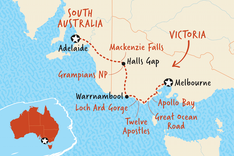 Western Regions of Victoria map