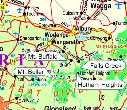 Victoria Ski Fields Map